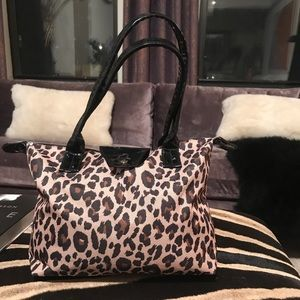 Leopard print long champ style Tote